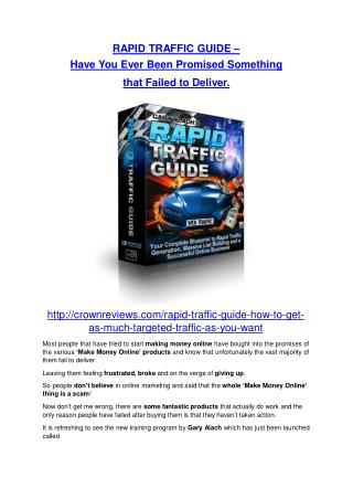 Rapid Traffic Guide  software ultimate review and $12000 BONUSES