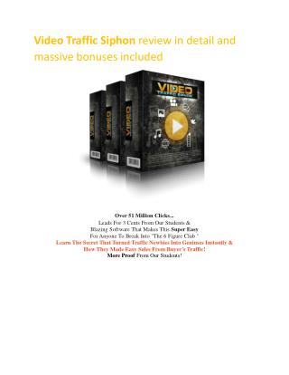 Special discount and $8000 bonuses of Video Traffic Siphon