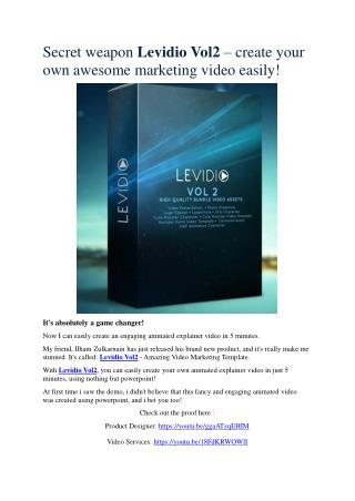 Detail infor review and of Levidio 2.0   and exclusive bonus bundle