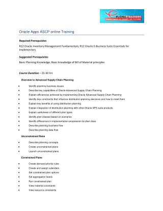 Oracle Apps ASCP online Training