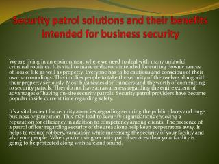 Security patrol solutions and their benefits intended for business security