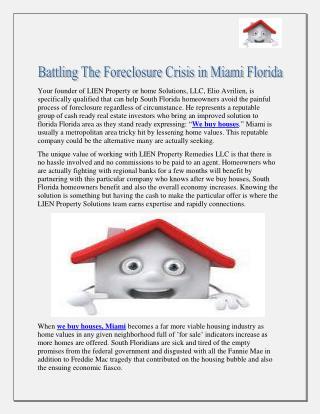 Battling The Foreclosure Crisis in Miami Florida