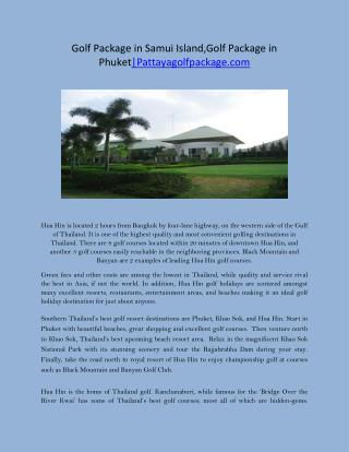 Golf Package in Samui Island,Golf Package in Phuket|Pattayagolfpackage.com