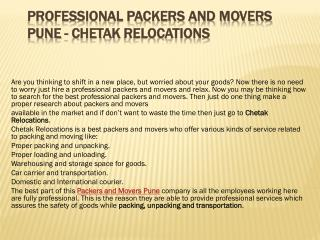 Professional Packers and Movers Pune - Chetak Relocations
