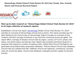 Hemorrhage Global Clinical Trials Review H1 2015 Key Trends, Size, Growth, Shares And Forecast Research Report