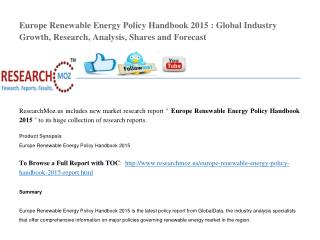 Europe Renewable Energy Policy Handbook 2015