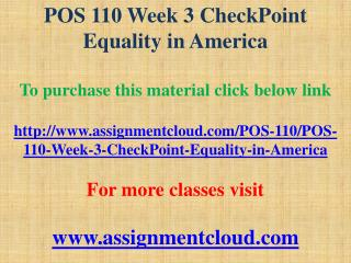 POS 110 Week 3 Assignment Civil Liberties and Civil Rights