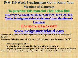 POS 110 Week 5 Assignment Get to Know Your Member of Congress