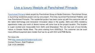 Live a luxury lifestyle at Panchsheel Pinnacle