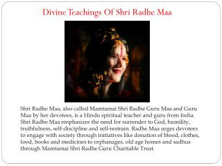 Divine Teachings Of Shri Radhe Maa