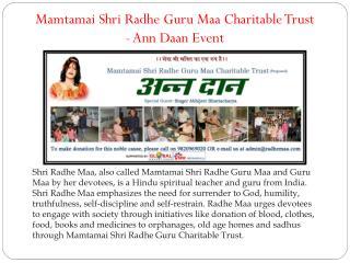 Mamtamai Shri Radhe Guru Maa Charitable Trust - Ann Daan Event