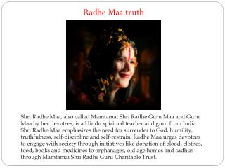 Radhe Maa truth