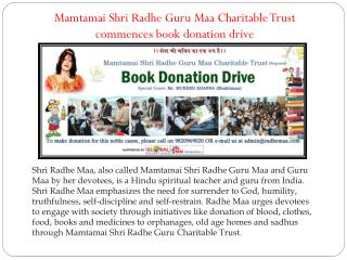 Mamtamai Shri Radhe Guru Maa Charitable Trust commences book donation drive