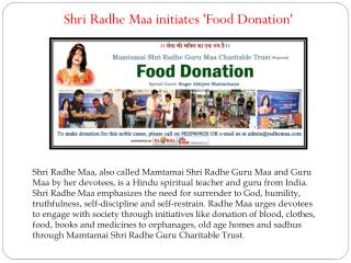 Shri Radhe Maa initiates 'Food Donation'