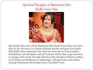 Spiritual Thoughts of Mamtamai Shri Radhe Guru Maa