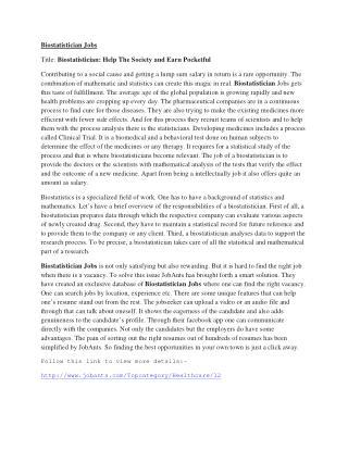 Biostatistician Jobs in Massachettues