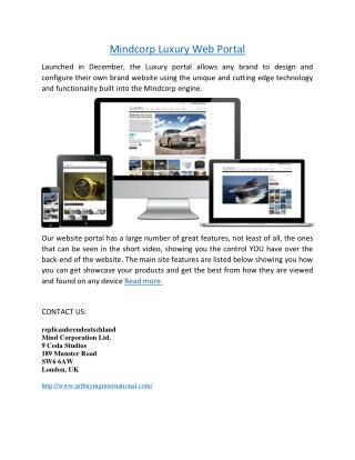 Mindcorp Luxury Web Portal - Luxury White Label Web Portal