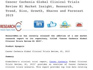 Cancer Cachexia Global Clinical Trials Review H1 2015