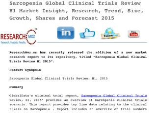 Sarcopenia Global Clinical Trials Review H1 2015