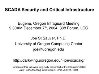 SCADA Security and Critical Infrastructure