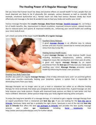 The Healing Power of A Regular Massage Therapy