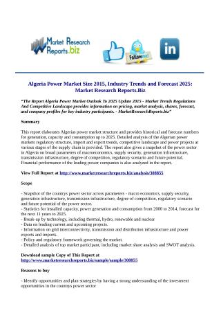 Algeria Power Market Size 2015, Industry Trends and Forecast 2025: Market Research Reports.Biz