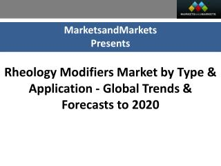 Rheology Modifiers Market worth $5.6 Billion by 2020