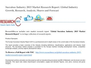 Global Sucralose Industry 2015 Market Research Report