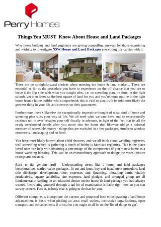 Things You MUST  Know About House and Land Packages