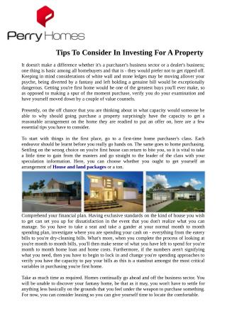 Tips To Consider In Investing For A Property