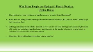 Why Many People are Opting for Dental Tourism- Dentzz Dental