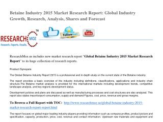 Global Betaine Industry 2015 Market Research Report