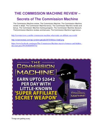 The Commission Machine   review-$26,800 bonus & discount