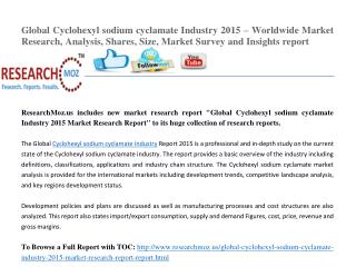 Global Cyclohexyl sodium cyclamate Industry 2015 – Worldwide Market Research, Analysis, Shares, Size, Market Survey and