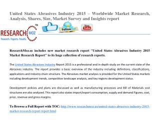 Market Research Report on United States Abrasives Industry 2015