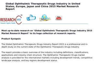 Global Ophthalmic Therapeutic Drugs Industry in United States, Europe, Japan and China 2015 Market Research Report