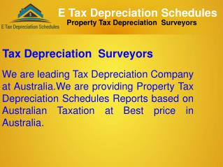Tax Depreciation Surveyors