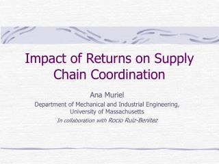 Impact of Returns on Supply Chain Coordination