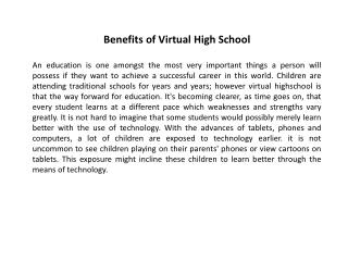 Benefits of Virtual High School