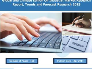 Global Lemon Oil Industry 2015, Market Research Reports