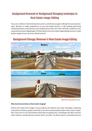 Background Removal or Background Changing technique in Real Estate Image Editing