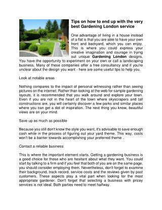 Tips on how to end up with the very best Gardening London service