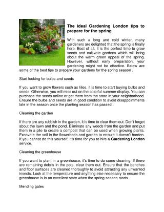 The ideal Gardening London tips to prepare for the spring
