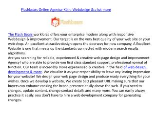 Flashbears Online Agentur Köln. Webdesign & more