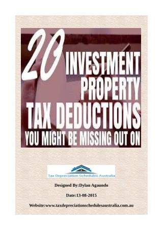 Investment Property Depreciation Schedule