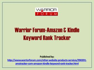 Warrior Forum-Amazon & Kindle Keyword Rank Tracker