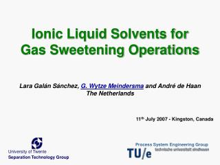 Ionic Liquid Solvents for Gas Sweetening Operations