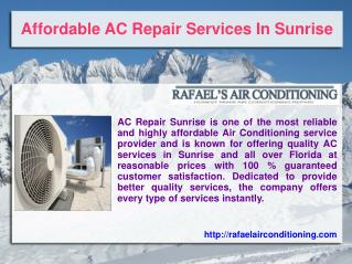 Affordable AC Repair Services In Sunrise