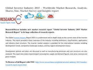 Global Inverter Industry 2015 Market Research Report