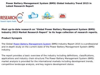 Global Power Battery Management System (BMS) Industry 2015 Market Research Report